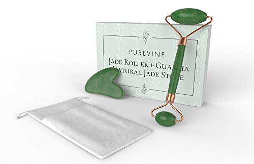 - Jade Roller and Gua Sha Scraping Tool Kit - Anti Aging Beauty Facial Massage Set - 100% Natural Jade Stone - Face Lymphatic Drainage - Remove Wrinkles, Puffiness, Fine Lines