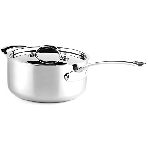 Saber Cookware Professional Grade 5-Ply Stainless Steel Saucepan with Lid, 5.5 quart, Silver