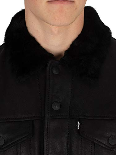 Shearling Shearling Shearling Cuir Homme Levi's Veste En Gtqff Trucker Noir Noir Noir natural La q4tFP1x