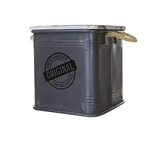 Idealtrend Metall Behälter 31x31,5 cm Deko 25 Liter Wäschekorb Hocker Aufbewahrung Deckel
