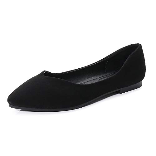 (Meeshine Womens D'Orsay Pointy Toe Ankle Strap Buckle Comfort Ballerina Ballet Flats Shoes(8.5 B(M) US,Black 02))