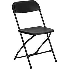 Plastic Folding Chair, 800 lbs. Capacity, Black - Lot of 10