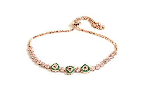 18k rose gold plated Sterling Silver multi triangle Cubic Zirconia friendship bolo adjustable bracelet