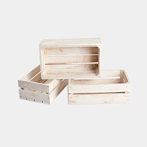 Rebajas ofertas conjunto 3 cajas cajón madera blanca decapada 50x30x17, ideal para decoración, ordenar