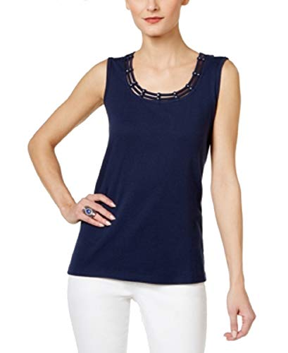 Karen Scott Studded Tank Top (Intrepid Blue, M)