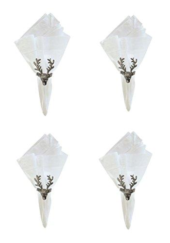 C F Stag Deer Reindeer Metal Christmas Napkin Rings, Set of 4