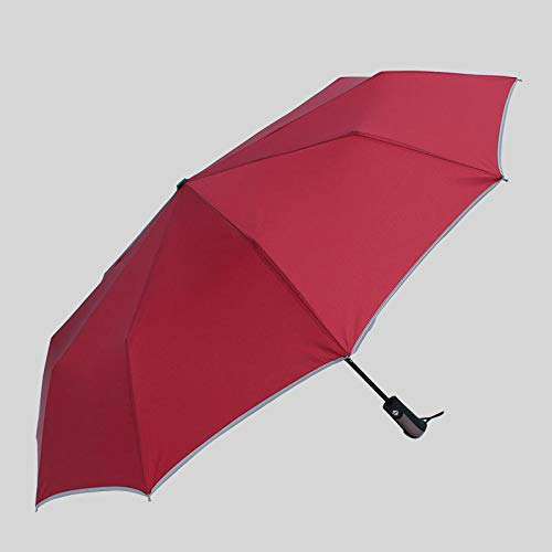 F.S.M. Automatic Folding Umbrella 1-2 People Windproof Umbrella Reflective Stripe Camping Sunshade - Red by F.S.M.
