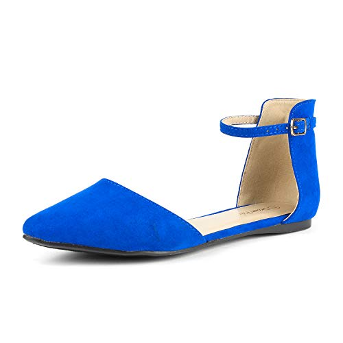 DREAM PAIRS Flapointed-Ankle Women's Casual D'Orsay Pointed Plain Ballet Comfort Soft Slip On Flats Shoes New Royal Blue Size 7.5