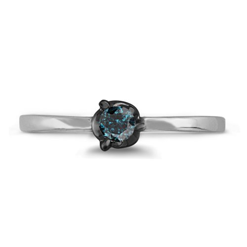 Sterling Silver Blue Round Diamond Solitaire Promise Ring (1/10 Cttw)