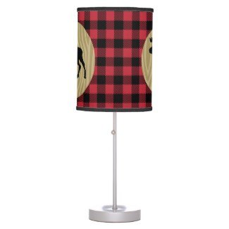 Lumberjack Buffalo Plaid Moose Silhouette Rustic Desk Lamp