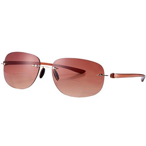 Pro Acme Bifocal Sunglasses Rimless Wrap Sun Readers Lightweight TR90 Frame (Brown, 1.0) by Pro Acme