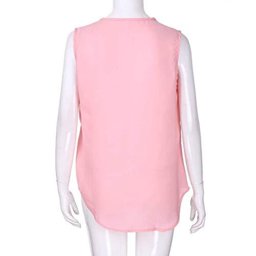 Manche V Mousseline Classique Tee Irrgulier Tshirt Nues Confortable Et Cou Femme Elgante Tops Uni Manches Mode Fille Shirt paules Casual Rose sans Haut F0qag