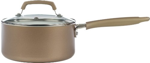 WearEver C94424 Pure Living Nonstick Ceramic Coating Scratch Resistant PTFE PFOA and Cadmium Free Dishwasher Safe Oven Safe Sauce Pan Cookware, 3-Quart, Gold