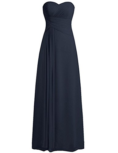 Bridesmaid Evening Dresses Chiffon Gown Navy Sweetheart Womens Pleated Anlin Long Prom qwHE8n