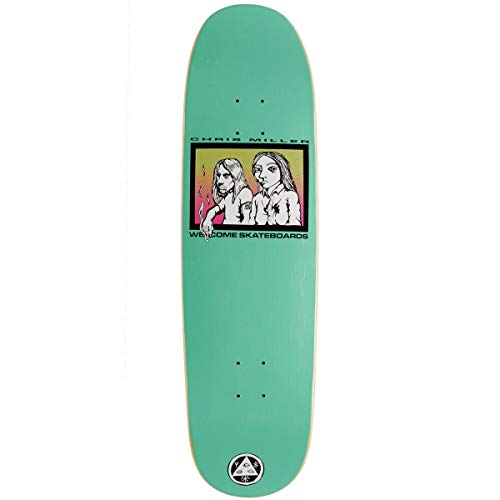 - Welcome The Couple Chris Miller Reissue On A Catblood 2.0 Skateboard Deck - Teal/Raised Ink Pattern - 8.75