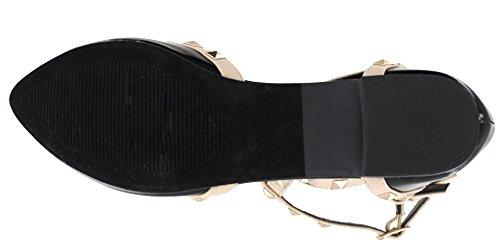 Orange Beige Pointed 1 Flat Strappy Gladiator Punk Toe Moda Womens Top Studded Light Black Buckle 6qBXE1