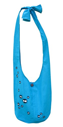 Soot Sprites Hip Shoulder Sling Bag Thai Cotton 32 Blue From Spirited Away Totoro Movie