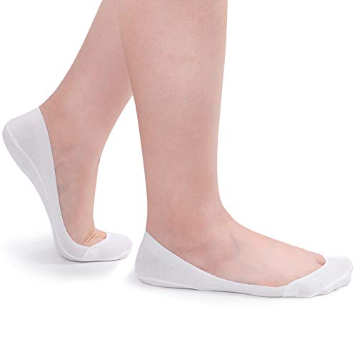 Flammi Women's 4 Pairs TRULY No Show Socks for Flats Non Slip Ultra Low Cut (White)