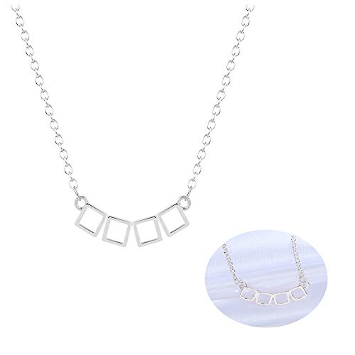 Frodete Geometric Gold Silver 3D 4 Square Combination Long Necklace Charms Women Hollow Curved Necklace ()