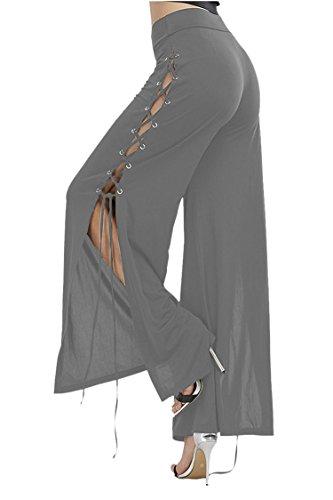 CHICE IRIS Ladies Comfy Chic Eyelet Lace Up Long Palazzo Lounge Pants Grey (Chic Eyelet)