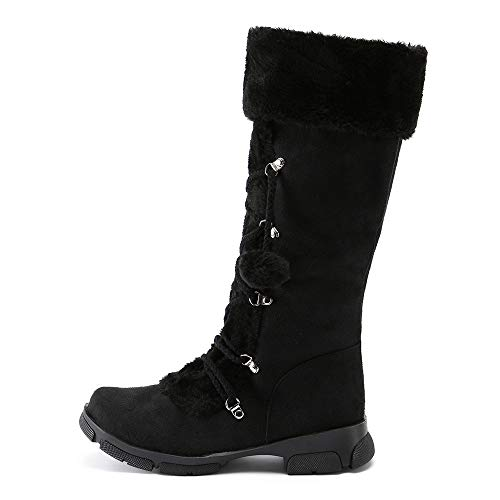 Chaussures Du Classique Milieu Femmes Plat En Bottes Vintage Neige Dcontract Hairball Daim Zip Hiver De Mollet Hlhn Noir Martin Romain Cuir Sg6xUqwU