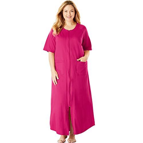 Dreams & Co. Women's Plus Size Long French Terry Zip-Front Robe - Raspberry Sorbet, L