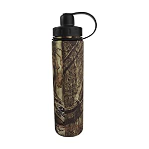 EcoVessel BOULDER TriMax Dual Opening Insulated Stainless Steel Water Bottle with Tea - Fruit and Ice Strainer - 24 Ounces - Mossy Oak