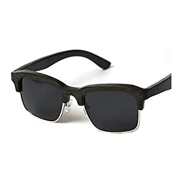 LUKEEXIN Cool Wooden Semi-Rimless Sunglasses For Men Handmade Square Bamboo Sunglasses UV Protection Sunglasses Driving Sunglasses Beach Sunglasses (Color : Black)