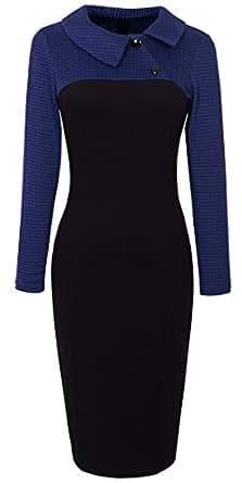 HOMEYEE Women's Retro Colorblock Lapel Career Tunic Dress B238 (Blue Houndstooth,S)