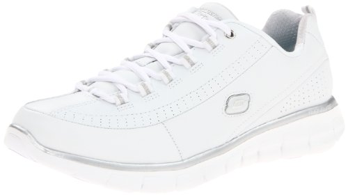 Skechers Sport Womens Synergy Elite Status Athletic Walking Sneaker,White/Silver Leather,10 M US