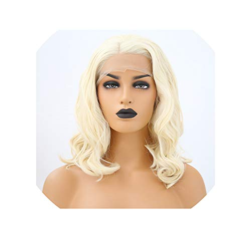 ghhingj Synthetic Lace Front Wig 14 Inch #613 Color Short Wave Wigs Glueless 150% Density Heat Resistant Wigs For Black Women,#613,16inches