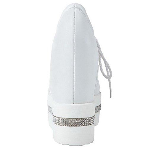 AllhqFashion Mujer Tacón Alto Material Suave Sólido Cordones Puntera Cerrada Puntera Redonda De salón Blanco