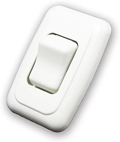 American Technology Components Single SPST On-Off Switch with Bezel, 12-Volt, for RV, Trailer, Camper (White)