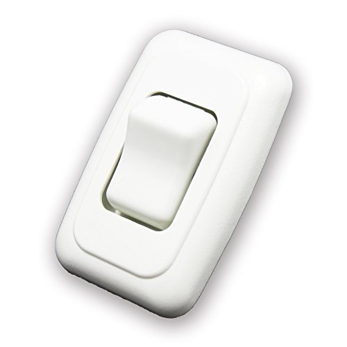 Single SPST On-Off Switch with Bezel, 12-Volt, for RV, Trailer, Camper (White)