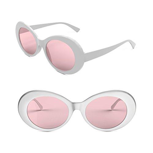c1dd491e22 Davachi Clout Goggles Set With Cases Kurt Cobain Oval Sunglasses White