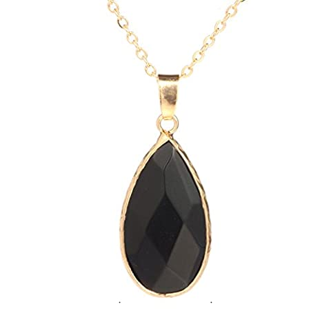 Bonnie Crystal Wrap Color Natural Stone Pendant Necklace Gold Chain Gift For Girls (Black) - Crystal Wrap Necklace