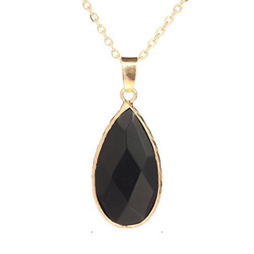 Gold Wrap Necklace (Bonnie Crystal Wrap Color Natural Stone Pendant Necklace Gold Chain Gift For Girls (Black))