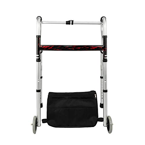 Mefeir CST4026 Folding Double H Rod Walker with Wheels and Storage Bag, Lightweight, Adjustable Height, Mobility Aid, Ultra Convenient, for Seniors, Patients, Disability by Mefeir