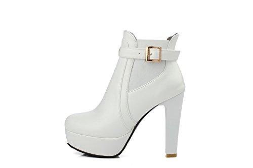 AdeeSu Womens Elastic Band Buckle Platform Patent Leather Boots White lX7tHPmA