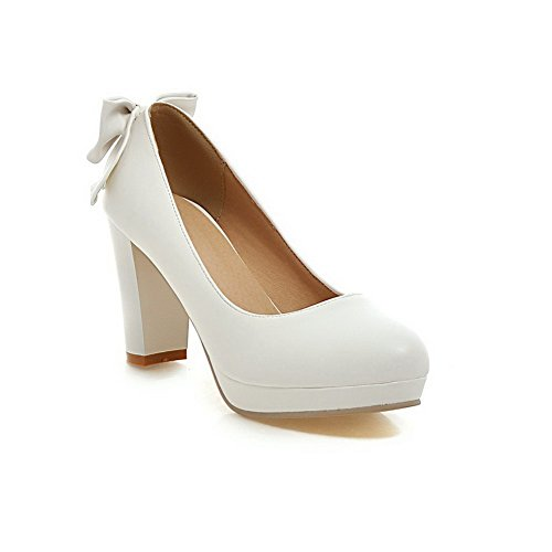 Allhqfashion Womens Pull-on Hoge Hakken Pu Solide Ronde Gesloten Teen Pumps-schoenen Wit