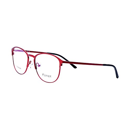 FONEX Men Women Titanium Alloy Myopia Optical Glasses Frame Eyewear 10012 (red, - Eyeglass Round Frames Red