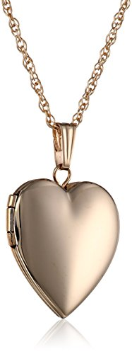 14k Yellow Gold Polished Heart Locket Necklace, 18'' by Amazon Collection