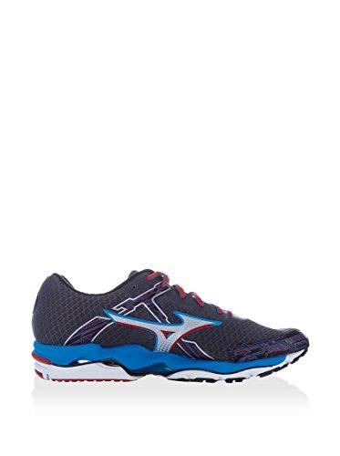 Mizuno - Zapatillas de Running de tejido sintético (piel) Hombre Gris / Rojo / Azul
