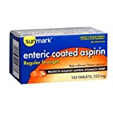 Sunmark Enteric Coated Aspirin 325 mg Tablets - 125 ct, Pack of 3