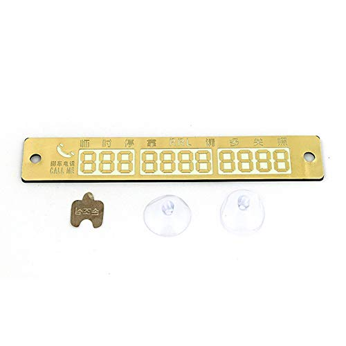 Manakayla Creative Temporary Parking Card Telephone Number Plate Car Stop Parking Sign Gold