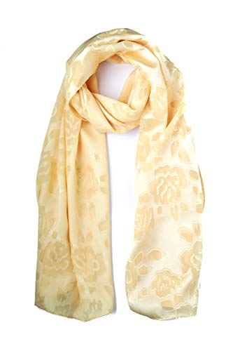momomio Womens Sheer Chiffon Scarf Soft Vintage Fashion Scarves For Women 27 by 68 Inch (Yellow Floral)