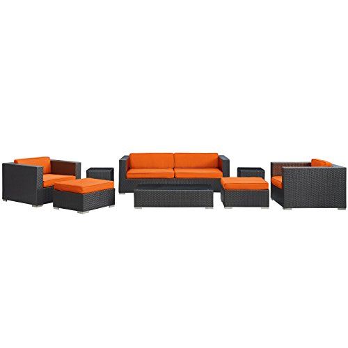 lexmod-venice-8-piece-outdoor-rattan-espresso-with-orange-cushions