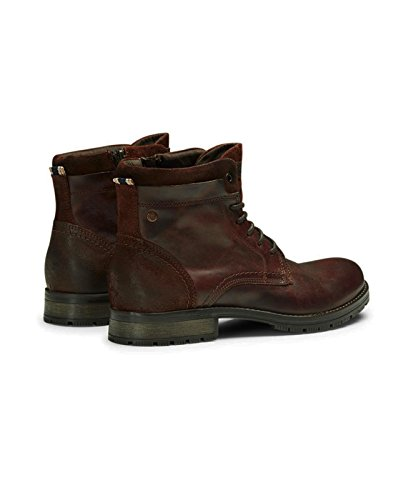 JACK & JONES Lederstiefel jfwHANIBAL Leather Herren Schnürboot Boots Leder Stiefel Stiefeletten Combat Boots Braun (Brown Stone)