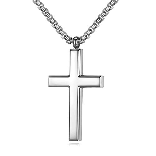 REVEMCN Simple Men's Stainless Steel Cross Pendant Chain Necklace for Men Women, 20'' - 24'' Chain (20, Silver Tone - Rolo Cable Chain)