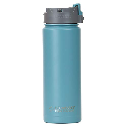 EcoVessel PERK Vacuum Insulated Stainless Steel Coffee & Tea Travel Bottle with Push Button Locking Top - 20 oz Tumbler Mug- Teal Blue